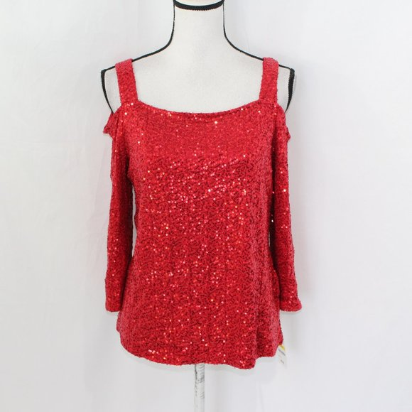 INC International Concepts Women/'s Sequined Cold Shoulder Blouse
